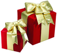 Red and Gold Nylon Gift Boxes with Bow