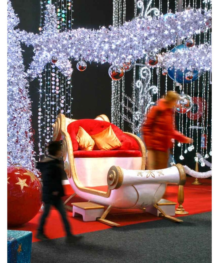 Holiday Photo Setup with Santa Sleigh Throne