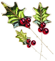 Metal Holly Leaves with Ornament Berries (Set of 2)