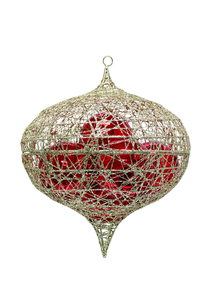 Champagne Glitter Onion Ornament Cage