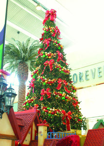 Giant Commercial Christmas Tree Decorated with Ornament Clusters