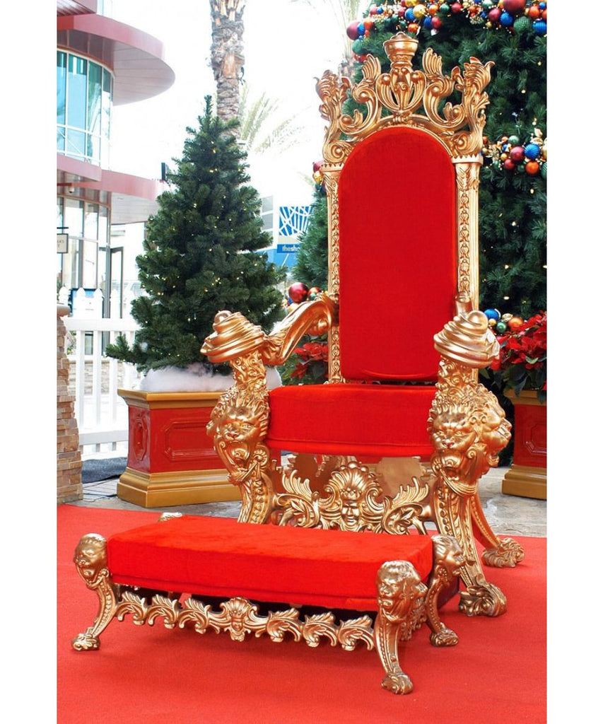 Ornate Red and Gold Santa Chair