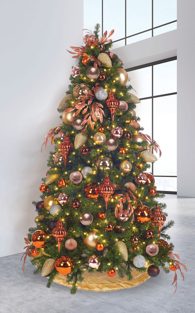 Calgary Pine Christmas Tree with Copper and Bronze Decor Package