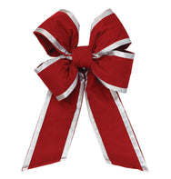 Holiday Red Velvet Bow with Silver Trim