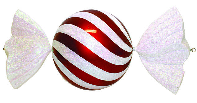 Jumbo Red and White Wrapped Candy Ornament
