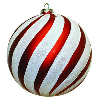 Red & White Swirl Candy Cane Ball Ornament - Set of 6