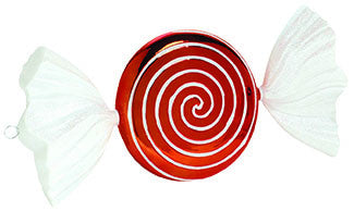 Large Red and White Wrapped Candy Ornament