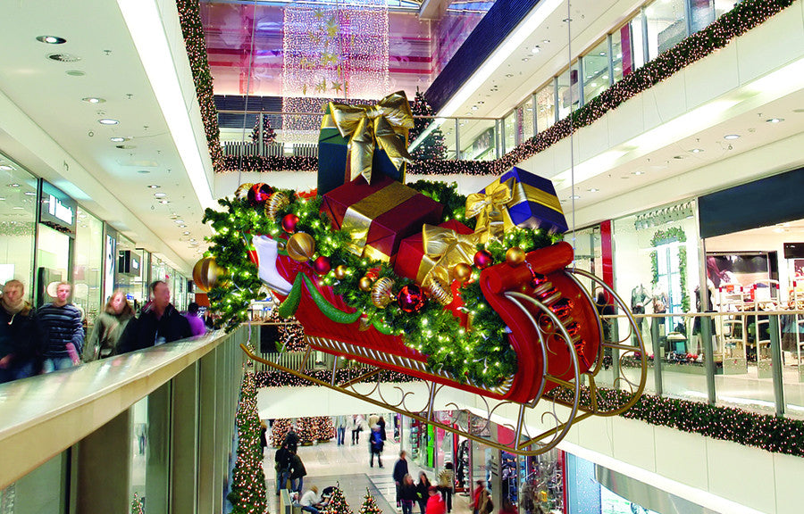 Giant Sleigh Display Prop Suspended from Ceiling