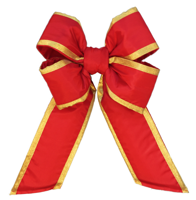 Bright Canada Red 4-Loop Bow with Gold Trim