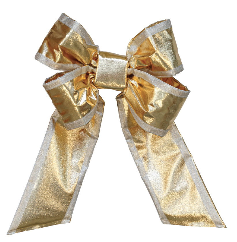 Gold Mylar Bow - Silver Trim