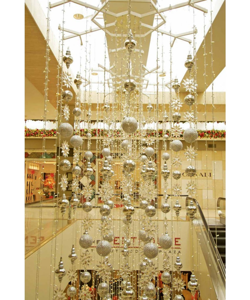 Commercial Atrium Christmas Display Silver Ornament Drops