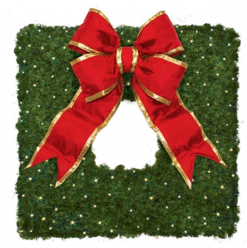 Square Commercial Christmas Wreath with Red Bow