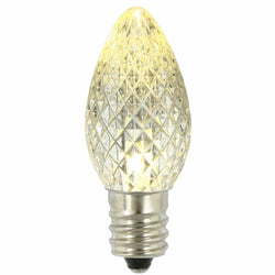 Premium Nickel Plated Non-Corrosive C7 Faceted LED Warm White Bulb .38w - 25 Pack