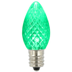 Premium Nickel Plated Non-Corrosive C7 Faceted LED Green Bulb .38w - 25 Pack