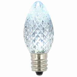 Premium Nickel Plated Non-Corrosive C7 Faceted LED Cool White Bulb .38w - 25 Pack