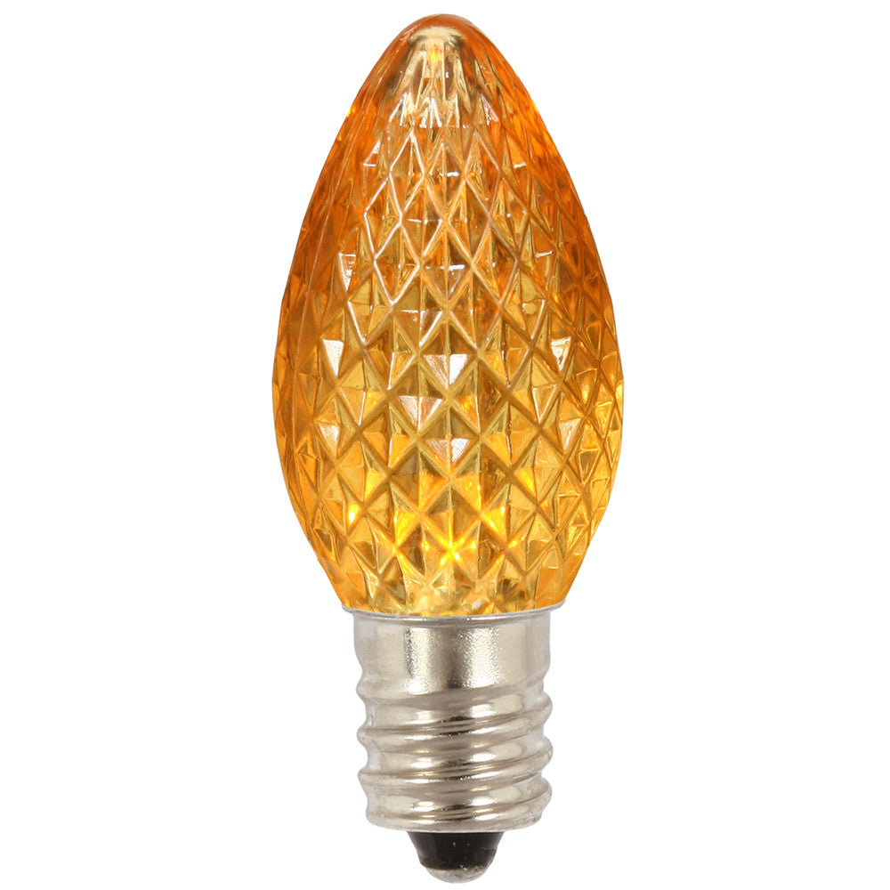 Premium Nickel Plated Non-Corrosive C7 Faceted LED Yellow Bulb .38w - 25 Pack