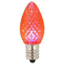 Premium Nickel Plated Non-Corrosive C7 Faceted LED Pink .38w - 25 Pack