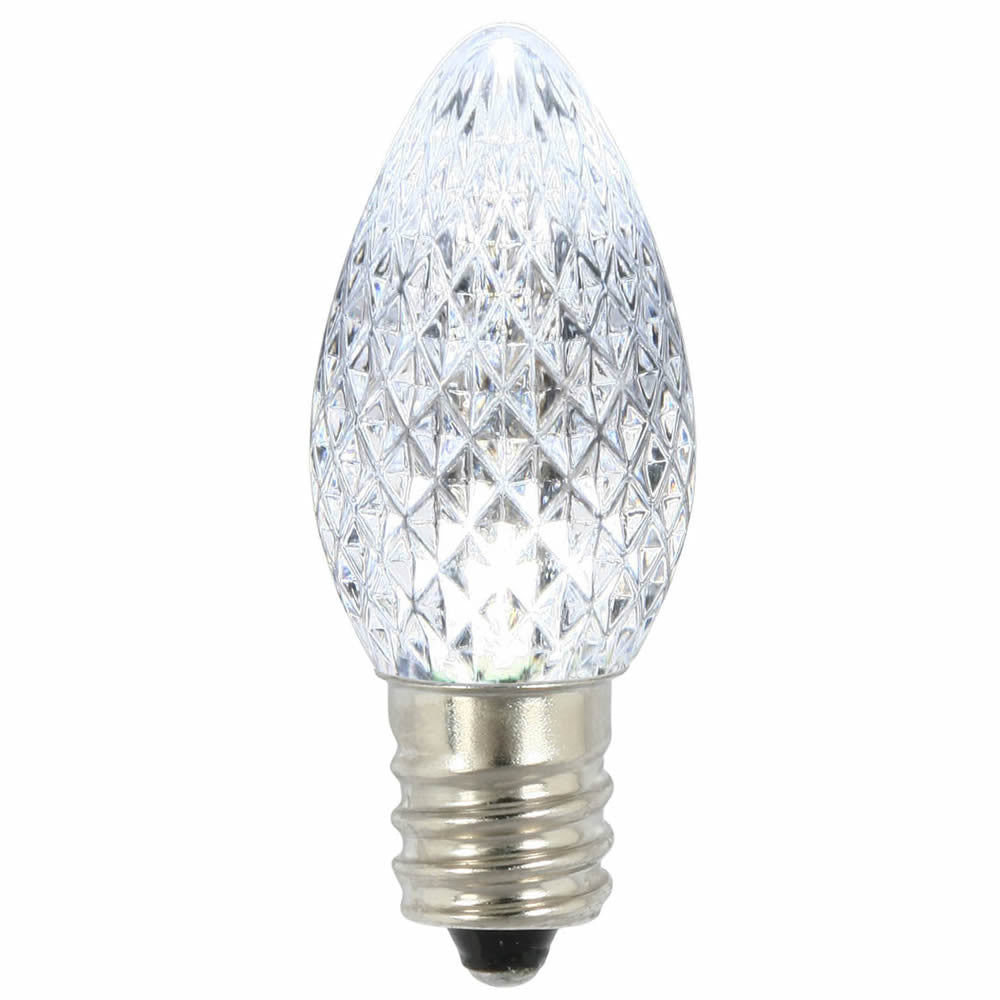 Premium Nickel Plated Non-Corrosive C7 Faceted LED Pure White .38w ...