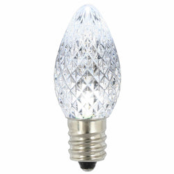 Premium Nickel Plated Non-Corrosive C7 Faceted LED Pure White .38w - 25 Pack