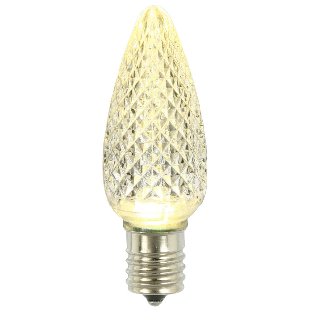 Premium Nickel Plated Non-Corrosive C9 Faceted LED Warm White Bulb .45w - 25 Pack