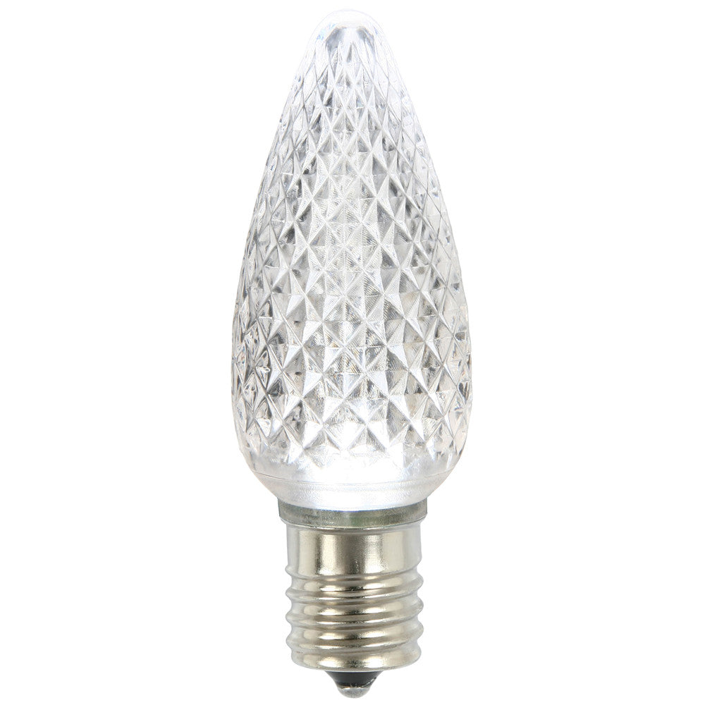 Premium Nickel Plated Non-Corrosive C9 Faceted LED Pure White Bulb .45w - 25 Pack
