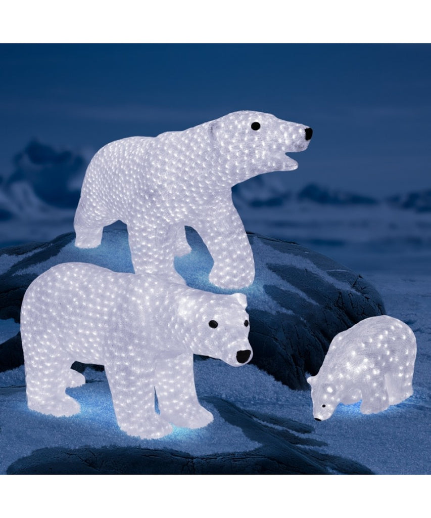LED Lit Acrylic Polar Bear Family Outdoor Sculpture