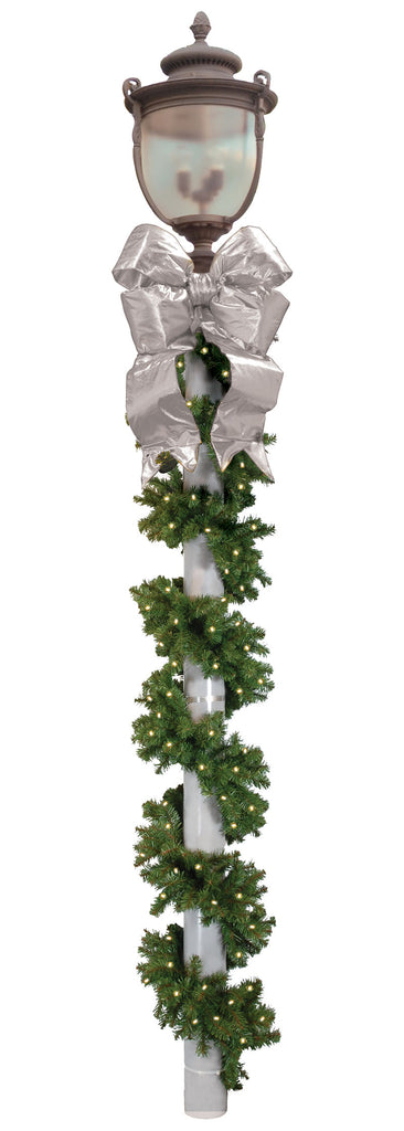 Commercial Outdoor Holiday Pole Wrap with Bow Kit