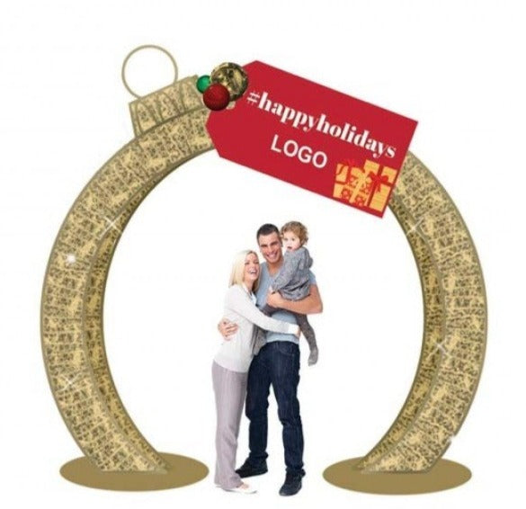 Custom Branded Commercial Holiday Lit Photo Op with Gift Tag