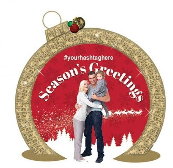 Commercial Holiday Ornament Lit Photo Op with Branded Graphic