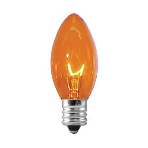 C9 Transparent Amber, 7 Watt, 25 Triple Dipped Replacement Lamps