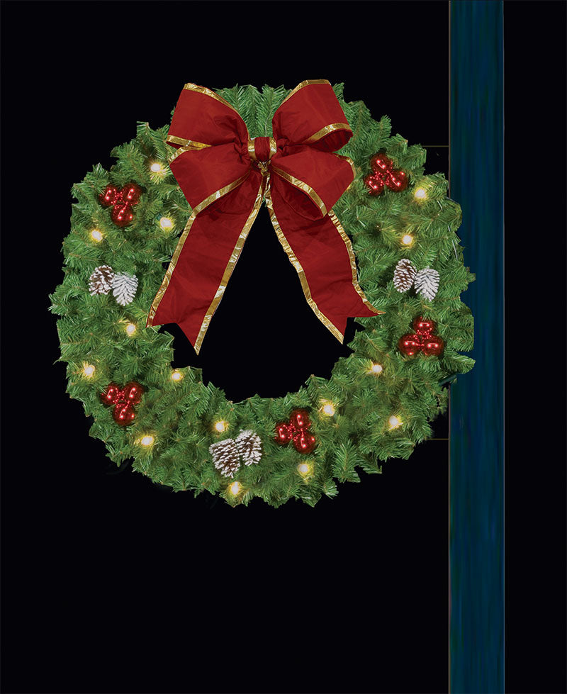 5' Lamp Post Holiday Wreath with (2) Bows