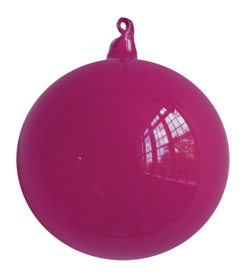 Fuchsia Blown Glass Christmas Ball Ornament