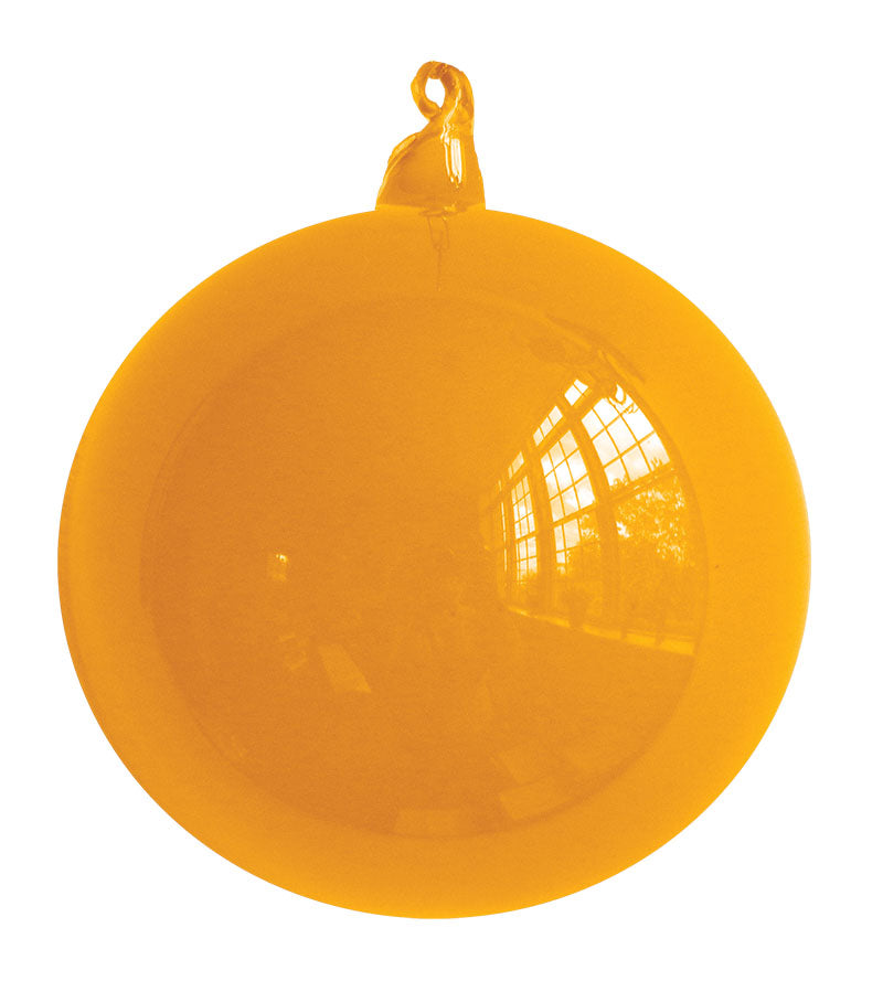 Gold Blown Glass Christmas Ball Ornament
