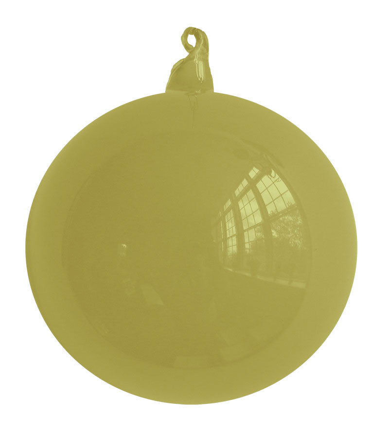 Olive Blown Glass Christmas Ball Ornament