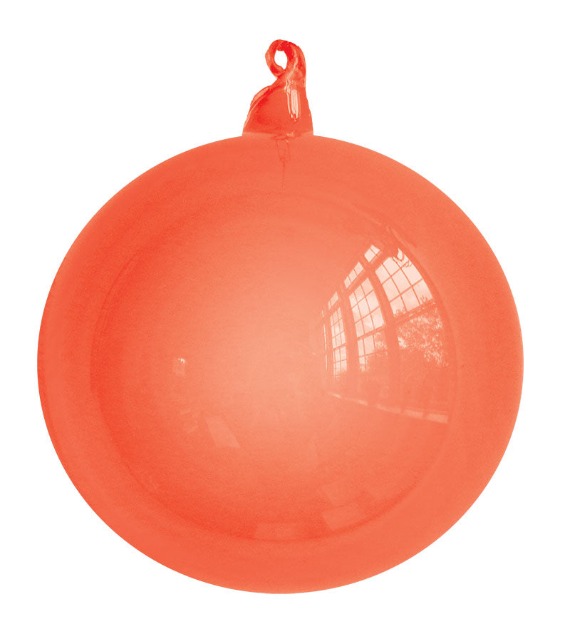 Orange Blown Glass Christmas Ball Ornament