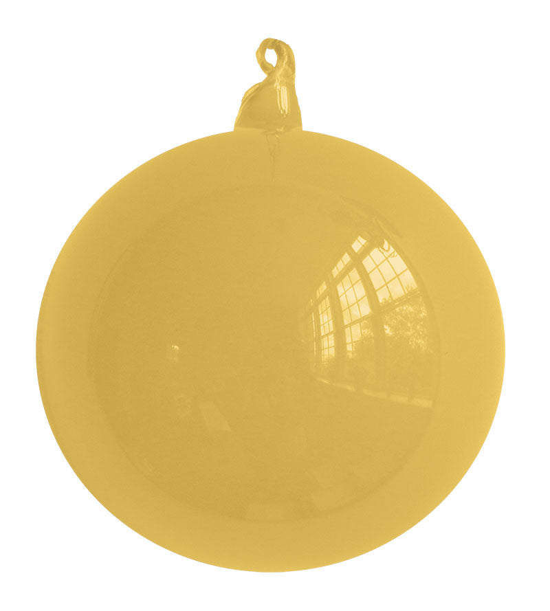 Yellow Blown Glass Christmas Ball Ornament