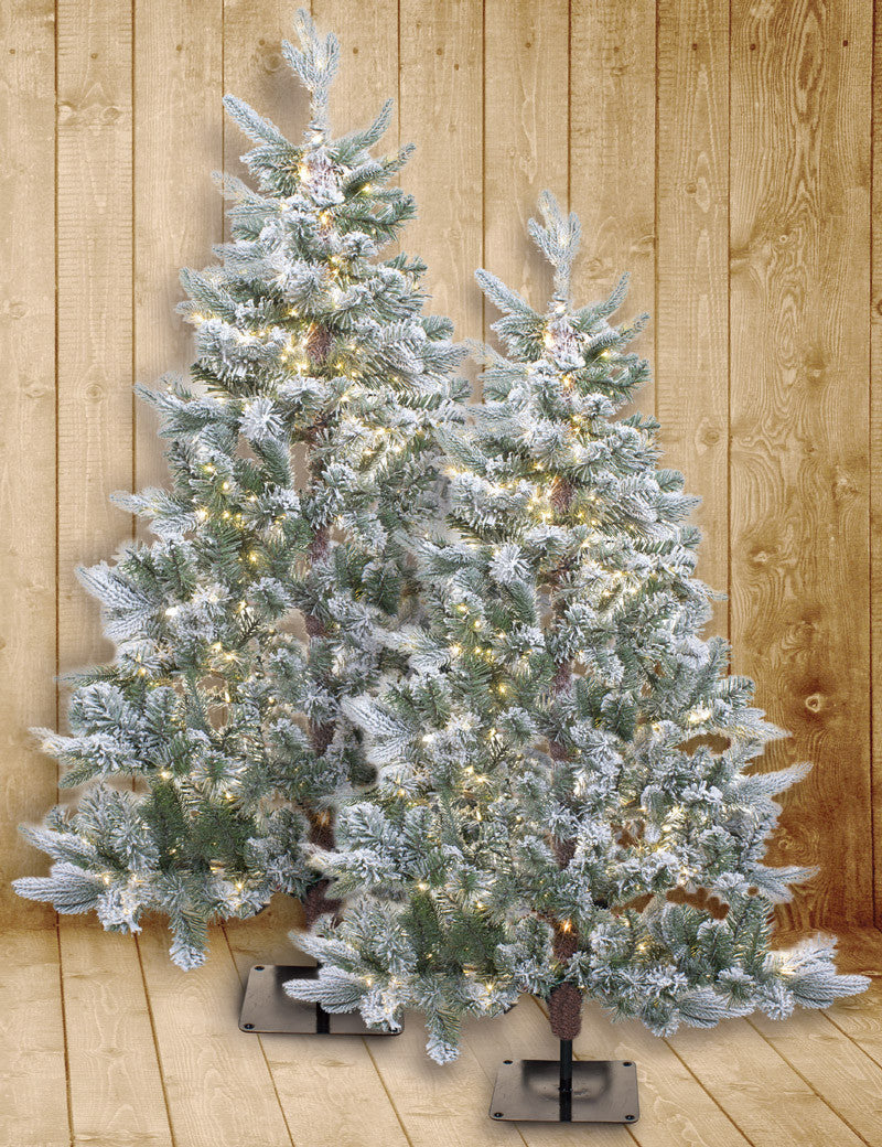Snow Flocked Flat Christmas Tree
