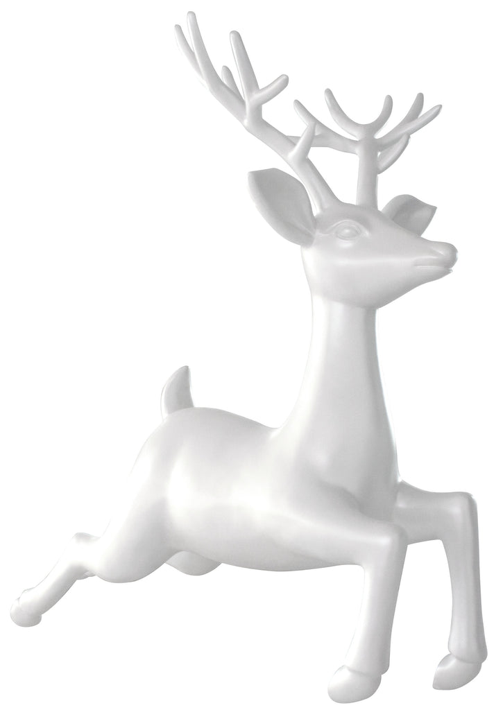 White Fiberglass Flying Reindeer Prop