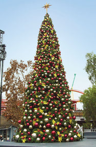 "30' Tower Christmas Tree with Holly Leaves Decor and 48"" Star Topper"