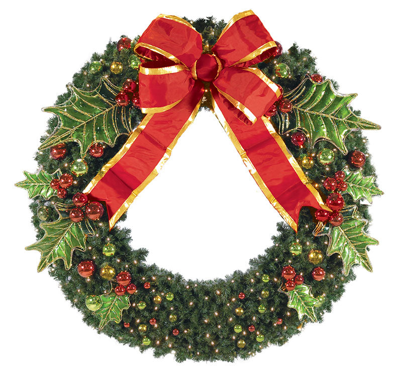 Pre Decorated Holly Leaf Wreath