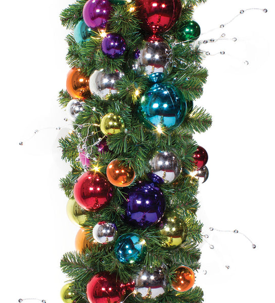 jewel tone prelit decorated garland 14 diameter commercial christmas supply commercial christmas decorations for indoor and outdoor display - Jewel Colored Christmas Decorations