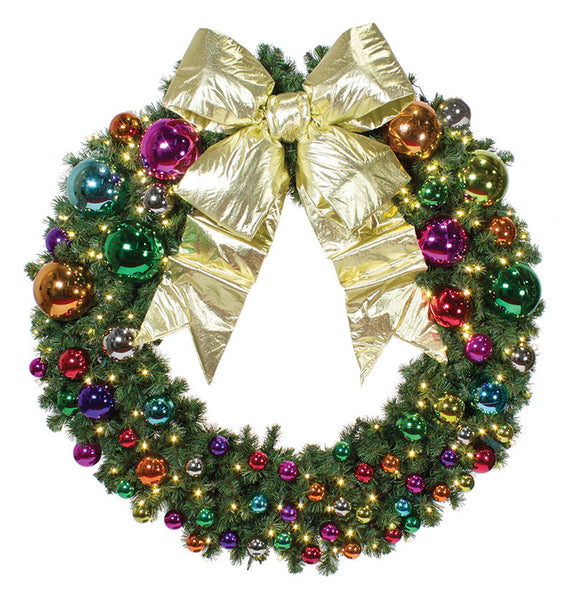 Pre-Decorated Jewel Tone Christmas Wreath
