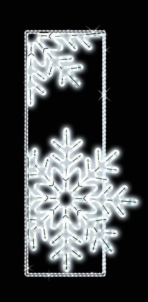 Illuminated Outdoor Pole Mount Decoration  Snowflakes