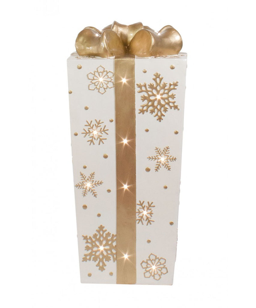 White Fiberglass Snowflake Gift Box with Gold Bow and LED Lights