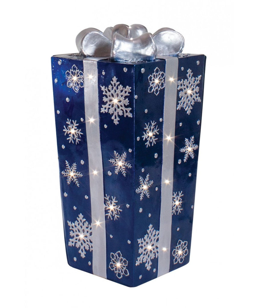 Blue Fiberglass Snowflake Gift Box with Silver Bow and LED Lights