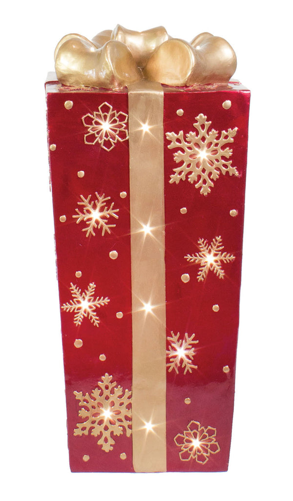 Red Fiberglass Snowflake Gift Box with Gold Bow and LED Lights