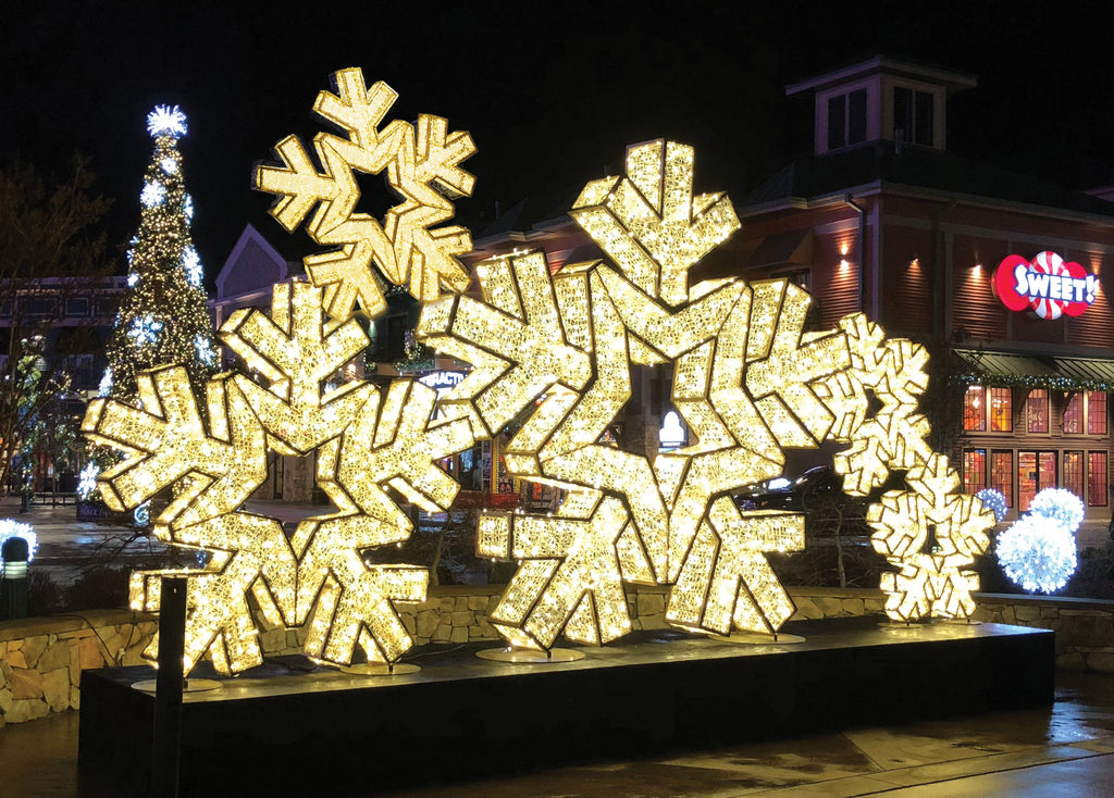 Outdoor Decor with Various Illuminated Giant Snowflakes