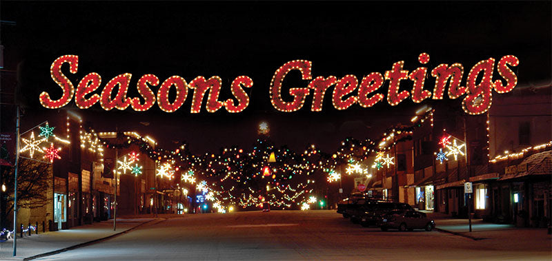 Seasons Greetings City Street Skyline Decoration