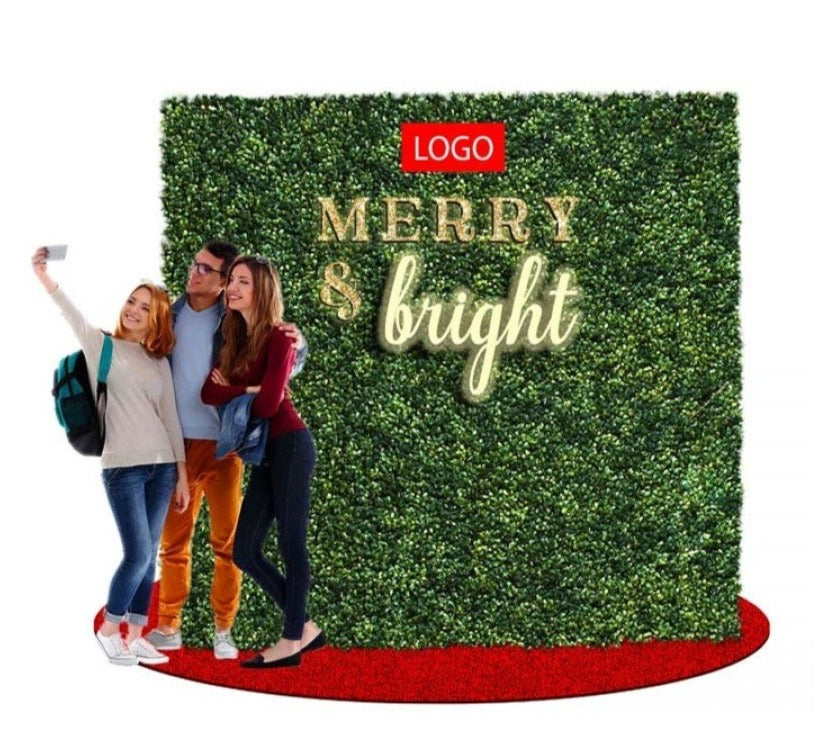Green Ivy Merry and Bright Commercial Photo Backdrop with Rug