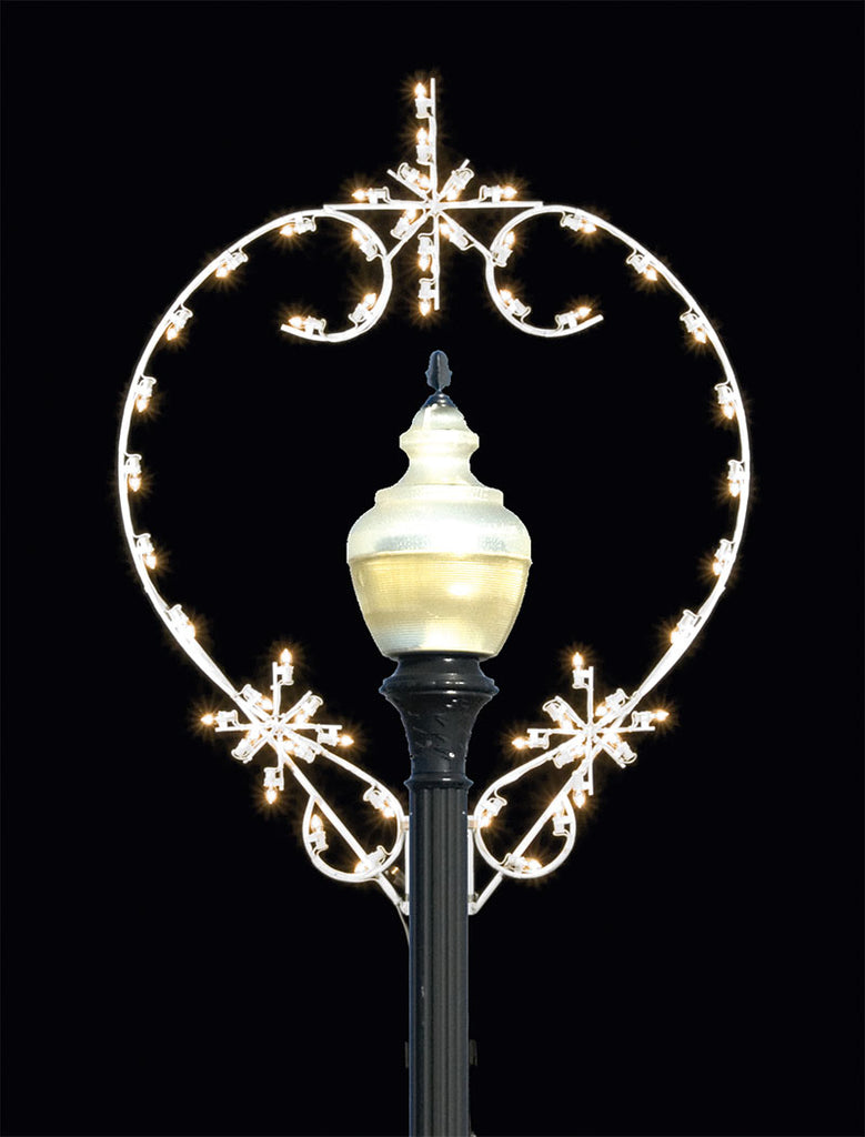 5' Starbursts Lit Lamp Post Silhouette Decor